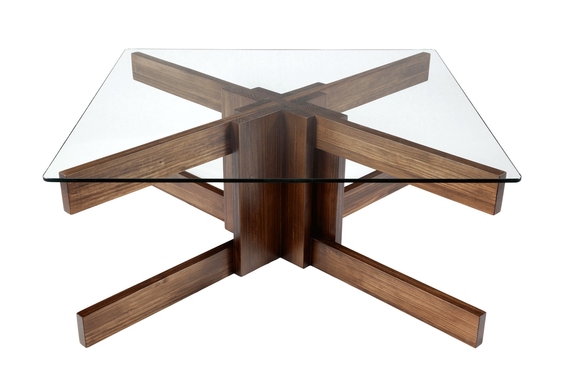 Pie de mesa en madera teñida de nogal oscuro